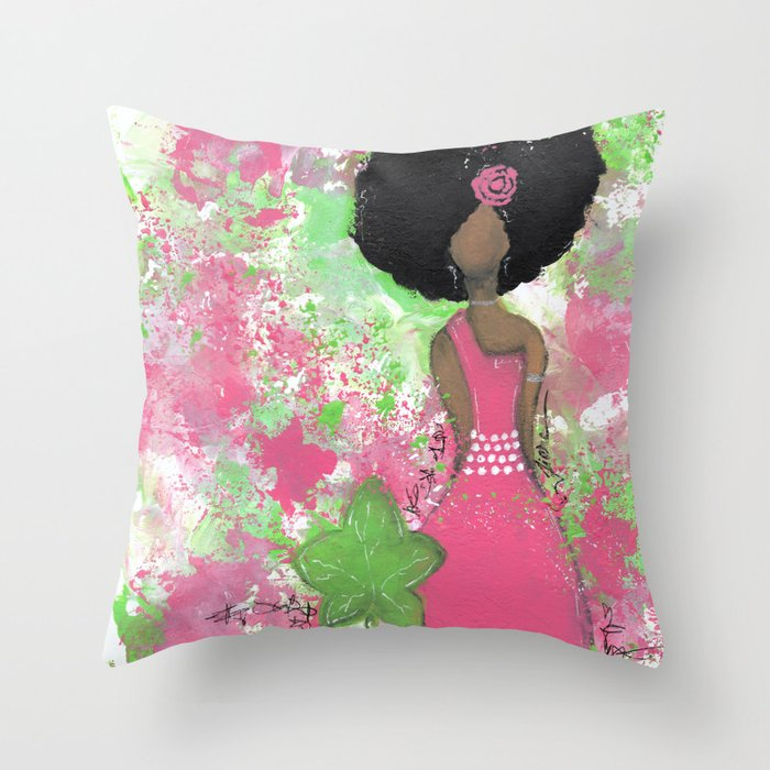 Dripping Pink and Green Angel Throw Pillow