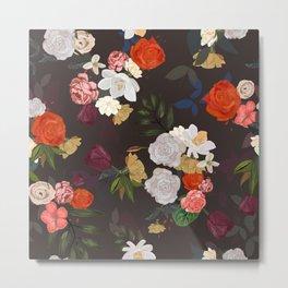 Orange Roses, Tulip and Mix Flowers Vintage Pattern Metal Print