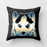 husky Throw Pillows featuring husky by AngelaArt
