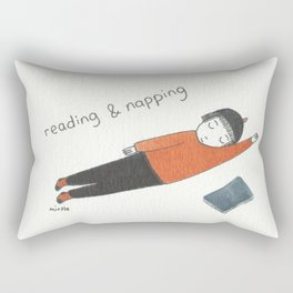 reading and napping Rectangular Pillow