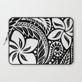 Circular Polynesian White Floral Tattoo Laptop Sleeve