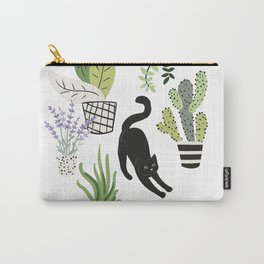 Black cat and plants in the pots. Morning stretch Carry-All Pouch