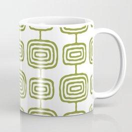 Mid Century Modern Atomic Rings Pattern Olive Green 3 Coffee Mug