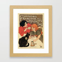 Vintage French tea and hot cocoa advertising Framed Art Print