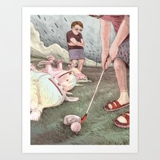 Dogs and golf Art Print