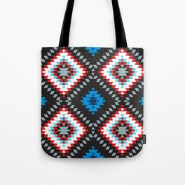 Colorful patchwork mosaic oriental kilim rug with traditional folk geometric ornament. Tribal style Tote Bag