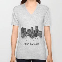 Gran Canaria Spain Skyline BW Unisex V-Neck