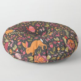 Tortoise and the Hare in Red Floor Pillow