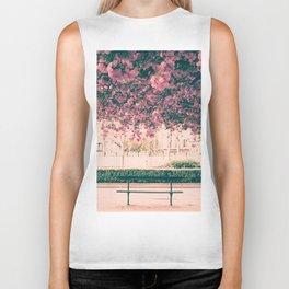 Paris, cherry blossom garden Biker Tank