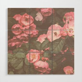 Pink Flowers in the Morning Wood Wall Art