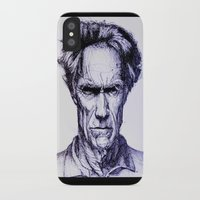 clint eastwood iPhone & iPod Cases featuring Clint Eastwood by Bronsolo Illustration