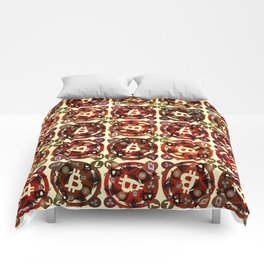 Crypto currency money red pattern Comforters