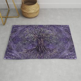 Tree of life -Yggdrasil Amethyst and silver Rug