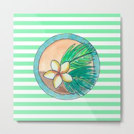 Tropical flower and stripes Metal Print