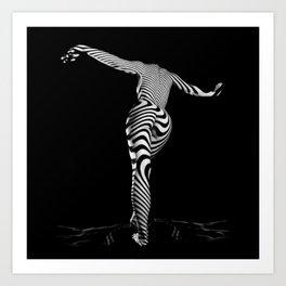 0489s-MM BW Zebra Striped Art Nude Figure Curves Art Print