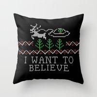 i want to believe Throw Pillows featuring I Want to Believe by Jessa
