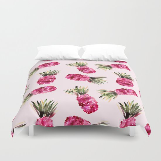 Pink Pineapples Duvet Cover