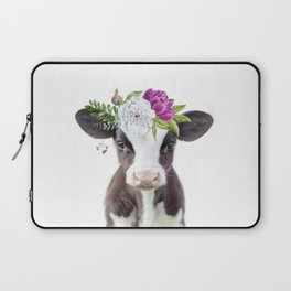 Baby Cow with Flower Crown Laptop Sleeve