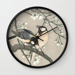 Tits on Cherry Branch (1900-1910) by Ohara Koson Wall Clock