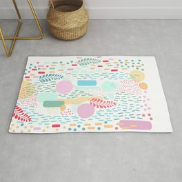 Abstract Nature - Colourful Doodle Pattern 3 Rug