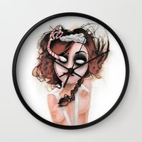 rocky horror picture show Wall Clocks featuring Untitled III by Rouble Rust