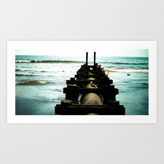 Chillin by the sea Art Print