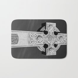 Celtic Stone Cross At Sunset Bath Mat
