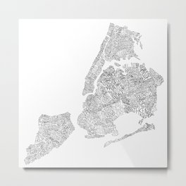 New York City Boroughs - Hand lettered map Metal Print