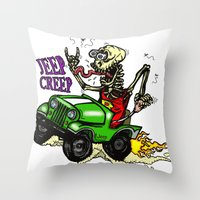 jeep Throw Pillows featuring Jeep Creep by CreepWerks