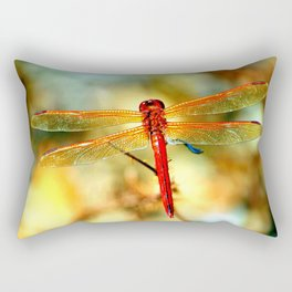 Glistening Red Dragonfly Rectangular Pillow