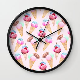 Ice cream Pattern summer cool watercolor Wall Clock