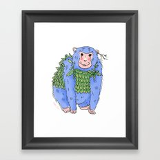 Peachtree The Chimp in Blue Framed Art Print