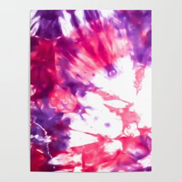 Modern Artsy Abstract Neon Pink Purple Tie Dye Poster