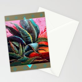 PUTTY COLOR ART DECO SOUTHWEST DESERT AGAVE Stationery Cards