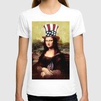patriotic T-shirts featuring Patriotic Mona Lisa  by Gravityx9