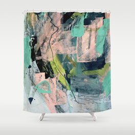 Connect [4] : a vibrant acrylic abstract in neon green, blues, pinks, & hints of orange Shower Curtain