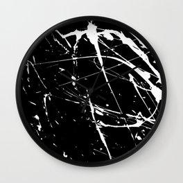 Modern hand painted black white watercolor splatters pattern Wall Clock