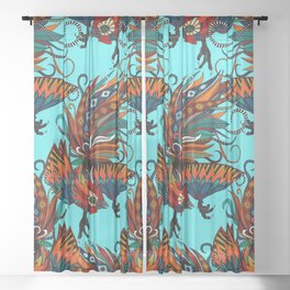 rooster ink turquoise Sheer Curtain