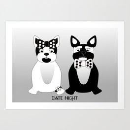 Date Night  - French Bulldogs Art Print