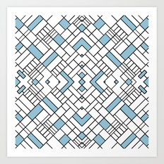 PS Grid 45 Sky Blue Art Print