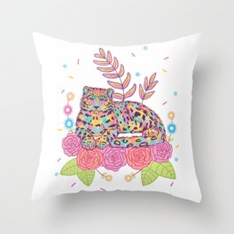 Colorful Snow Leopard Throw Pillow