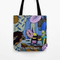 simpsons Tote Bags featuring Simpsons - Doughnuts by Katieb1013