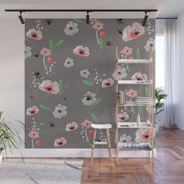 Watercolor Garden Grey Wall Mural