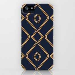 Modern Boho Ogee in Navy & Gold iPhone Case