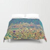 philadelphia Duvet Covers featuring philadelphia city skyline map by Bekim ART