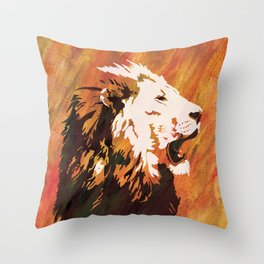 Male Lion with Fiery Texture Throw Pillow