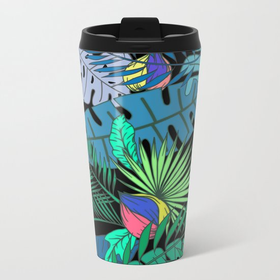 TROPICAL GARDEN B (abstract) Metal Travel Mug