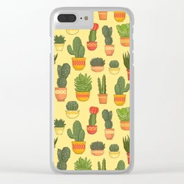 Cactus and Succulent (Tan) Clear iPhone Case
