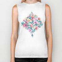 peach Biker Tanks featuring Peach Spring Floral in Watercolors by micklyn