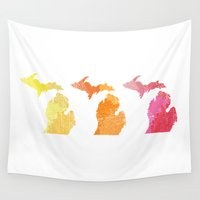 michigan Wall Tapestries featuring Michigan by Aubrey Kemme Design
